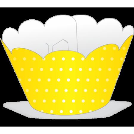 Saia para Mini Cupcake Amarela Poá Branco - 12 Unidades