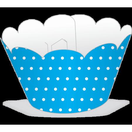 Saia para Mini Cupcake Azul Poá Branco - 12 Unidades