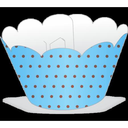 Saia para Mini Cupcake Azul Poá Marrom - 12 Unidades