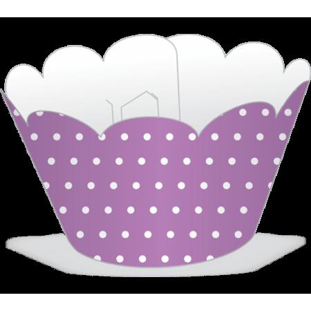 Saia para Mini Cupcake Lilás Poá Branco - 12 Unidades