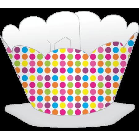 Saia para Mini Cupcake Poá Colorido - 12 Unidades