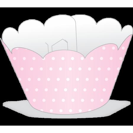 Saia para Mini Cupcake Rosa Poá Branco - 12 Unidades