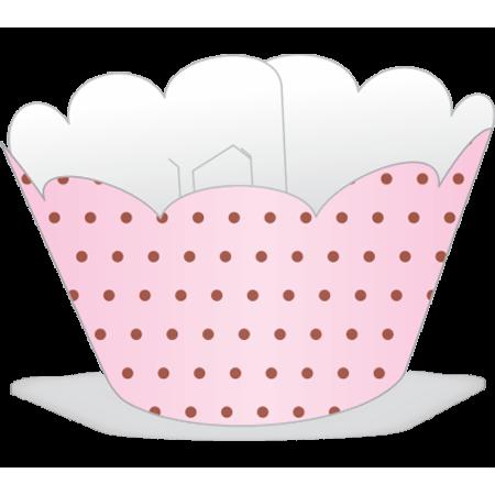 Saia para Mini Cupcake Rosa Poá Marrom - 12 Unidades