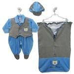 Saída de Maternidade Masculina Plush com Boné Azul Claro e Pied de Poule -P