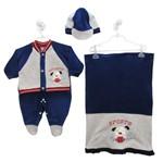 Saída de Maternidade Masculina Plush com Boné Azul Royal e Cinza Mescla -P