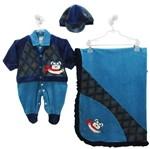 Saída de Maternidade Masculina Plush com Boné Azul Turquesa e Azul Marinho -P