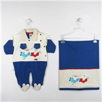Saida de Maternidade Masculina Suedine Creme e Azul Royal-RN