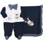 Saída de Maternidade Masculino Azul Marinho e Branco-RN