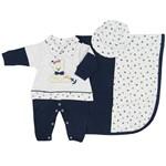 Saída de Maternidade Masculino em Suedine Azul Marinho e Mescla Cinza