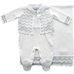 Saída Maternidade Tricot 3 Peças Branco e Prata - Noruega Baby