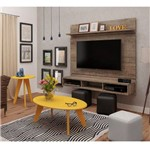 Sala Completa Artely: Painel Mister+ Mesa de Centro Ellis+ Mesa de Apoio Ellis - Canela/Amarelo