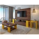 Sala Completa Artely: Painel Slim+ Rack Albany+ Mesa de Apoio UP +Mesa de Centro Albany - Canela/ Am