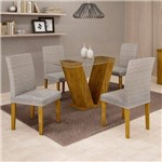 Sala de Jantar 4 Cadeiras Classic Ypê Suede Cinza 90