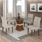 Sala de Jantar 4 Cadeiras Vitória Chocolate/off White Suede Cinza 90
