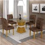 Sala de Jantar 4 Cadeiras Vitória Ypê/off White Animale Marrom 52