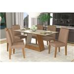 Sala de Jantar Alana 1800x900 com 6 Cadeiras Nicole Savana Off White e Pluma