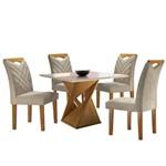 Sala de Jantar Canion com 4 Cadeiras - Linho Bege