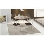 Sala de Jantar Carraro - Base 1504 C/Tampo Madeira Branco 87cm+4 Cadeiras 146 Cromada/Cacau