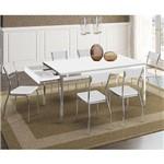 Sala de Jantar Carraro-Base 1529 Tampo Madeira Branco 160cm+6 Cadeiras 1701 Cromada/Branco