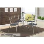 Sala de Jantar Carraro - Base 393 Cromada C/Tampo de Vidro 80cm+4 Cadeiras 1700 Cromada-Jeans
