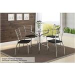 Sala de Jantar Carraro - Base 393 Cromada Vidro 80cm+4 Cadeiras 1700 Cromada-Couríno Preto