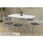 Sala de Jantar Carraro - Base Cromada 1507 C/Tampo Madeirado Branco 136cm+6 Cadeiras 1700 Jeans