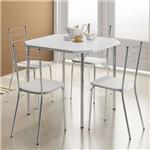 Sala de Jantar Carraro-Base Cromada 1510 Tampo Madeira Branco 77cm+4 Cadeiras 1703 Cromada/Branco