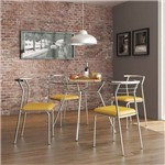 Sala de Jantar Carraro - Base Cromada 1527 Vidro 105cm+4 Cadeiras 1708 Cromada/Amarelo- Amarelo