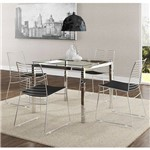 Sala de Jantar Carraro - Base Cromada 326 C/Tampo de Vidro 95cm+4 Cadeiras 1712 Cromada/Preto-Preto