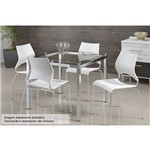 Sala de Jantar Carraro - Base Cromada 326 C/Tampo de Vidro 95cm+4 Cadeiras 357 Cromada-Branco