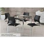 Sala de Jantar Carraro - Base Cromada 326 C/Tampo de Vidro 95cm+4 Cadeiras 357 Cromada-Preto