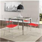 Sala de Jantar Carraro - Base Cromada 326 Vidro 95cm+4 Cadeiras 1712 Cromada/Vermelho-Vermelho Real