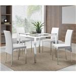 Sala de Jantar Carraro-Base Cromada 326 Vidro In 95cm+4 Cadeiras 306 Cromadas/Branco