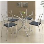 Sala de Jantar Carraro - Base Cromada 375 Vidro 105cm+4 Cadeiras 1700 Cromada/Jeans-Jeans