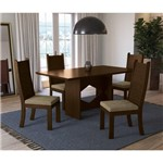Sala de Jantar Chilli com 4 Cadeiras Kappesberg - Walnut/caramelo