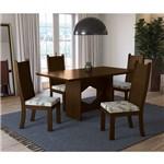 Sala de Jantar Chilli com 4 Cadeiras Kappesberg - Walnut/floral