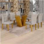 Sala de Jantar Classic 6 Cadeiras Vitória Ypê Suede Cinza 90
