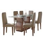 Sala de Jantar Dafne 160cm com 6 Cadeiras Imbuia Naturale - Sued Animale Bege
