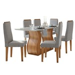 Sala de Jantar Dafne 160cm com 6 Cadeiras Rovere Naturale - Linho Gris