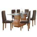 Sala de Jantar Dafne 160cm com 6 Cadeiras Rovere Naturale - Velvet Chocolate