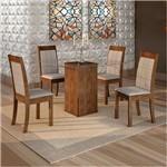 Sala de Jantar Havana 4 Cadeiras Rubi Chocolate Suede Cinza 90