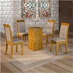 Sala de Jantar Havana 4 Cadeiras Rubi Ypê Suede Cinza 90