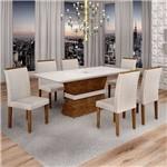 Sala de Jantar Jade 6 Cadeiras Sevilha Chocolate Suede Cinza 90