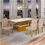 Sala de Jantar Jade 6 Cadeiras Sevilha Ypê Pena 84