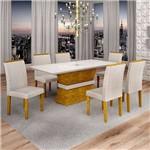 Sala de Jantar Jade 6 Cadeiras Sevilha Ypê Suede Cinza 90