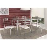 Sala de Jantar Kappesberg - Base Cromada Elba Vidro 120cm+6 Cadeiras Portugal Branco-Branco 106