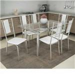 Sala de Jantar Kappesberg - Base Cromada Elba Vidro 140cm+6 Cadeiras Lisboa/Branco-Branco 106