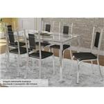 Sala de Jantar Kappesberg - Base Cromada Reno Vidro 150cm+6 Cadeiras Florença/Preto-Preto 110
