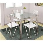 Sala de Jantar Kappesberg - Base Cromada Reno Vidro 90cm+4 Cadeiras Nápoles Branco-Branco 106
