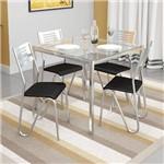 Sala de Jantar Kappesberg - Base Cromada Reno Vidro 90cm+4 Cadeiras Nápoles Preto-Preto 110